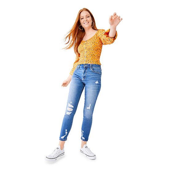 Denim Smocked Button Front Top And High Rise Ankle Jeggings