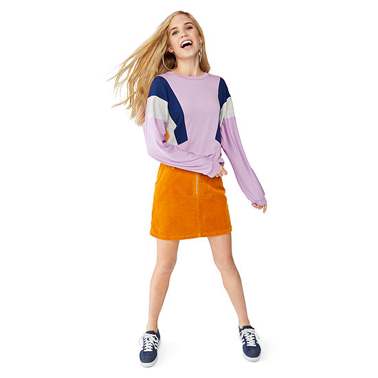 Mini Skirts: Zip Front Corduroy Skirt and Colorblock Sweatshirt