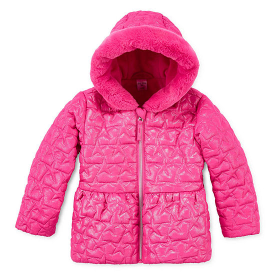 Okie Dokie Girls Faux Fur Trim Hooded Midweight Quilted Jacket-Toddler
