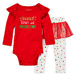 Okie Dokie Christmas Girls 2-pc. Bodysuit Set-Baby