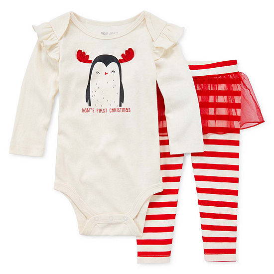 Okie Dokie Christmas Girls 2-pc. Bodysuit Set-Baby