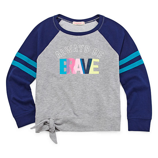 Inspired Hearts Round Neck Long Sleeve Sweatshirt Preschool Big Kid Girls