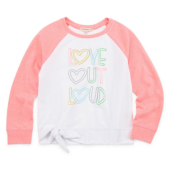 Inspired Hearts Round Neck Long Sleeve Sweatshirt Preschool / Big Kid Girls