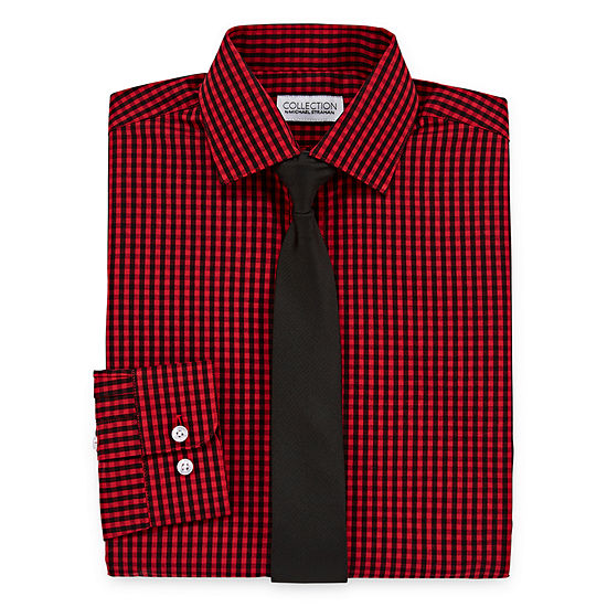 Collection By Michael Strahan Boys Spread Collar Long Sleeve Shirt + Tie Set Preschool / Big Kid
