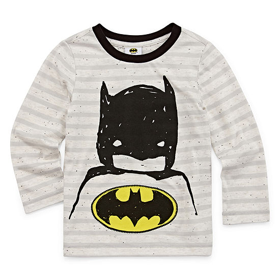 Boys Crew Neck Long Sleeve Batman Graphic T-Shirt-Toddler