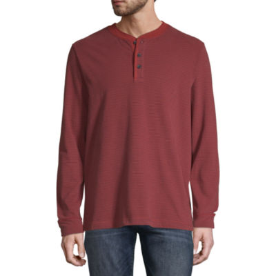 St. John's Bay Sueded Mens Long Sleeve Stretch Henley Shirt