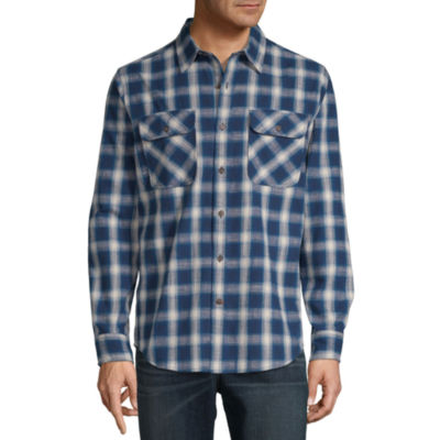 St. John's Bay Outdoor Rugged Mens Long Sleeve Plaid Button-Front Shirt