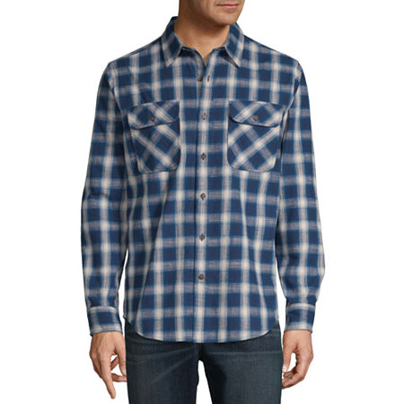 Mens Vintage Shirts – Retro Shirts St. Johns Bay Outdoor Rugged Mens Long Sleeve Flannel Shirt Size Small Blue $6.20 AT vintagedancer.com