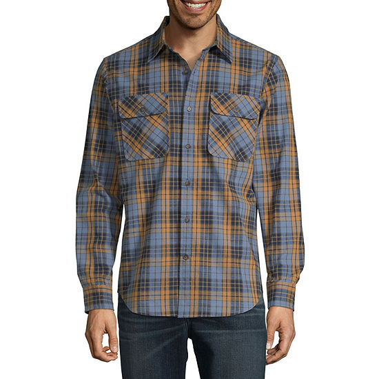 St. John's Bay Outdoor Rugged Mens Long Sleeve Plaid Button-Down Shirt
