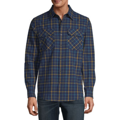 St. John's Bay Outdoor Rugged Mens Long Sleeve Plaid Button-Down Shirt