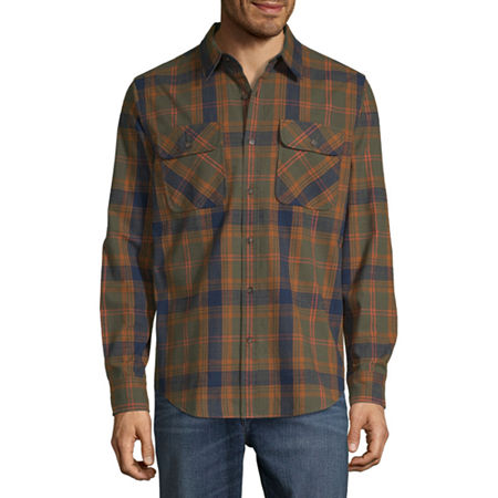 1920s Style Mens Shirts | Peaky Blinders Shirts and Collars St. Johns Bay Outdoor Rugged Mens Long Sleeve Flannel Shirt Size Medium Green $6.20 AT vintagedancer.com