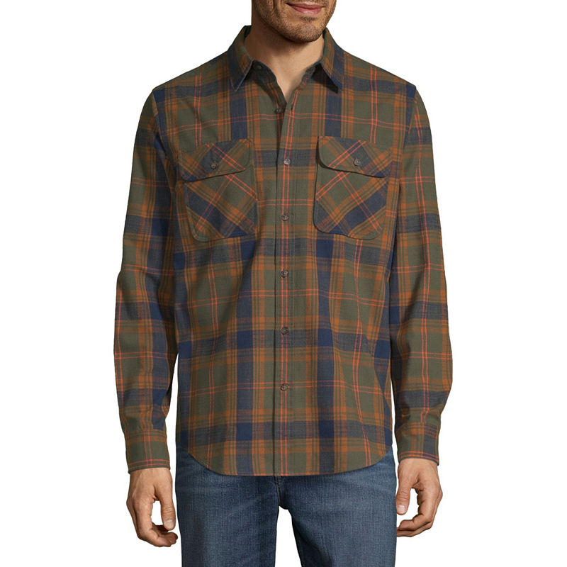 1920s Style Mens Shirts | Peaky Blinders Shirts and Collars St. Johns Bay Outdoor Rugged Mens Long Sleeve Flannel Shirt Size Medium Green $13.49 AT vintagedancer.com