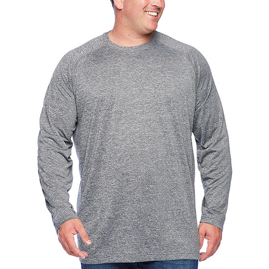 The Foundry Big & Tall Supply Co.-Big and Tall Mens Crew Neck Long Sleeve Moisture Wicking T-Shirt