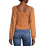Arizona-Juniors Womens Square Neck Long Sleeve Blouse