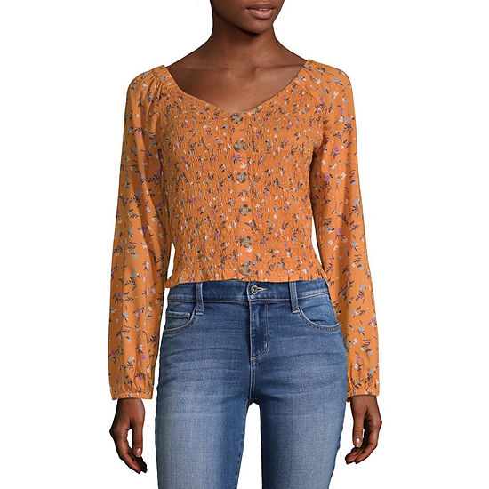 Arizona Womens Square Neck Long Sleeve Blouse-Juniors