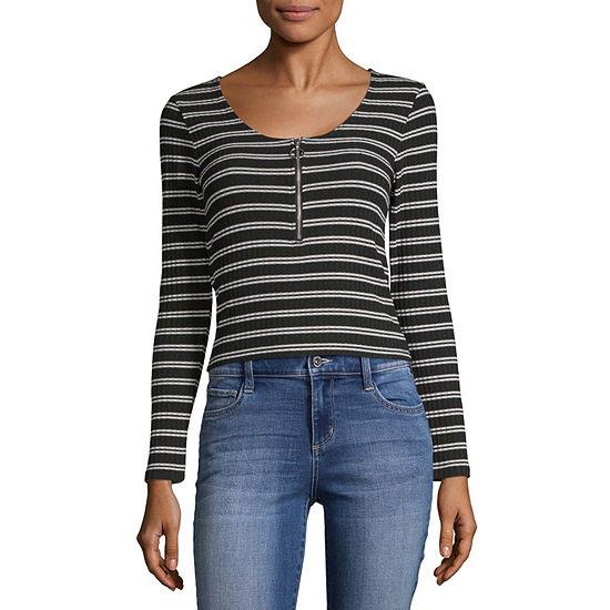 Arizona Juniors-Womens Round Neck Long Sleeve T-Shirt