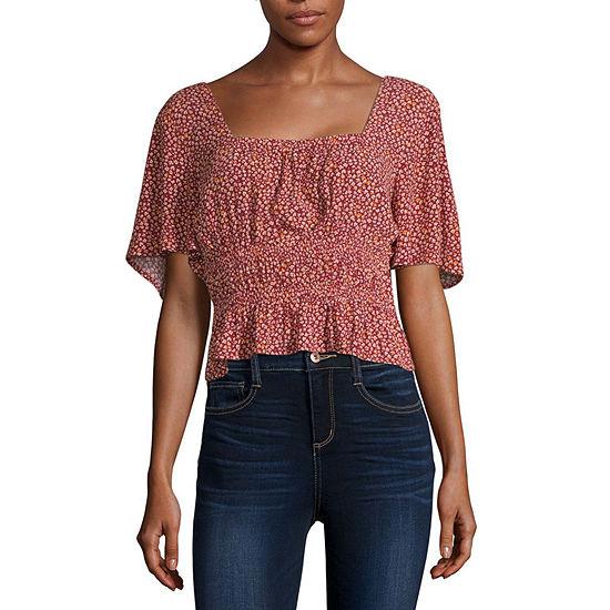 Arizona Womens Square Neck Short Sleeve Blouse-Juniors