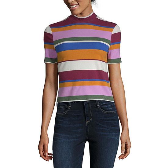 Arizona-Womens Mock Neck Short Sleeve T-Shirt Juniors