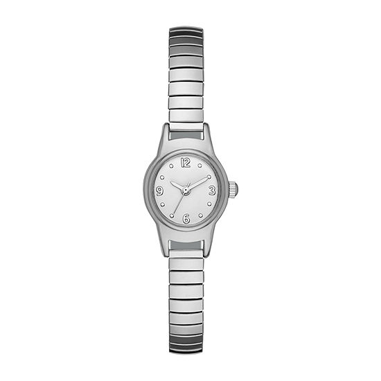 Womens Silver Tone Stainless Steel Expansion Watch-Fmdjo158