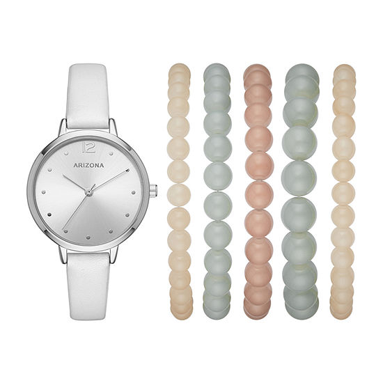 Arizona Womens White Strap Watch-Fmdarz181