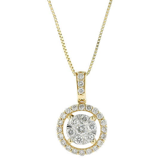Womens 1/2 CT. T.W. Genuine Diamond 14K Two Tone Gold Pendant Necklace