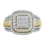 Womens 1 CT. T.W. Genuine White Diamond 10K Gold Square Engagement Ring
