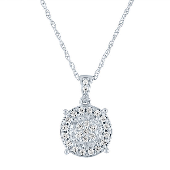 Womens 1/4 CT. T.W. Genuine Diamond Sterling Silver Pendant Necklace