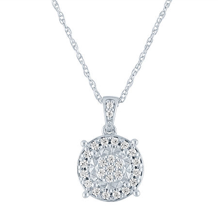 Womens 1/4 CT. T.W. Genuine Diamond Sterling Silver Pendant Necklace, One Size