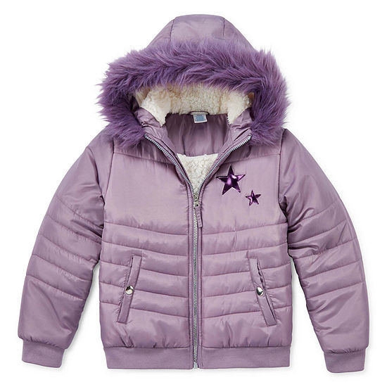 Arizona-Big Kid Girls Faux Fur Trim Hooded Heavyweight Quilted Jacket