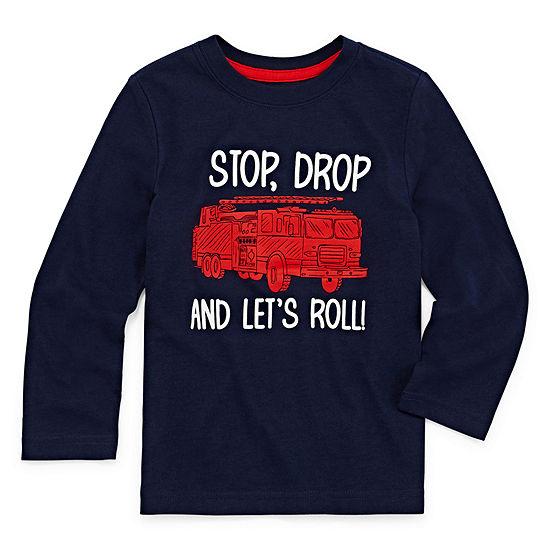 Okie Dokie Boys Crew Neck Long Sleeve Graphic T-Shirt-Toddler
