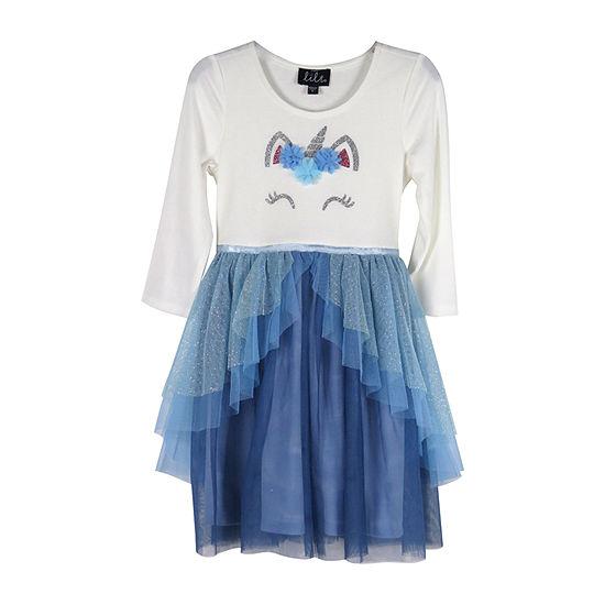 Lilt Long Sleeve Fitted Sleeve Tutu Dress - Preschool / Big Kid Girls