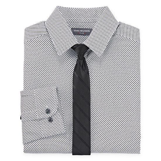 Van Heusen Boys Point Collar Long Sleeve Stretch Shirt + Tie Set Preschool / Big Kid