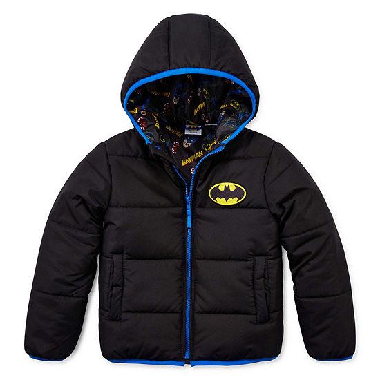 Boys Outerwear - Boys Batman Hooded Heavyweight Puffer Jacket-Preschool