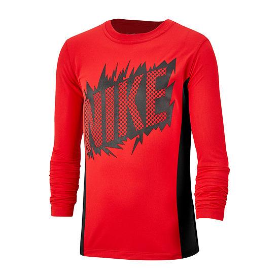 Nike Boys Crew Neck Long Sleeve Dri-Fit Graphic T-Shirt - Big Kid