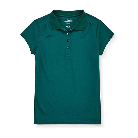 IZOD Performance Mesh Little & Big Girls Short Sleeve Wrinkle Resistant Moisture Wicking Polo Shirt