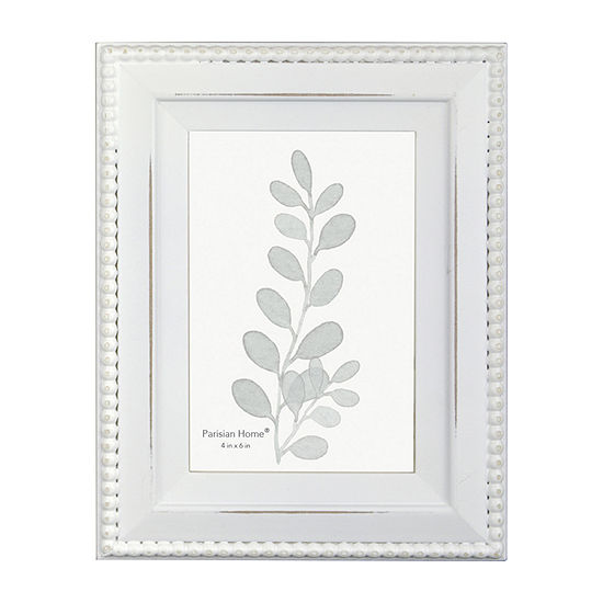 Enchante Distressed White Beaded 1-Opening Tabletop Frame