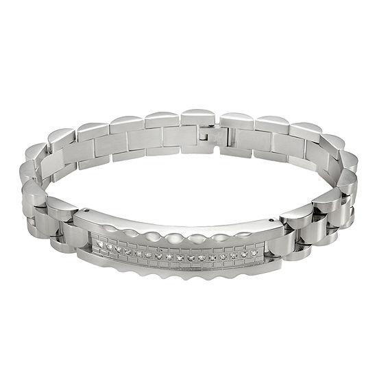Mens 1 5 Ct Tw Diamond Stainless Steel Bracelet