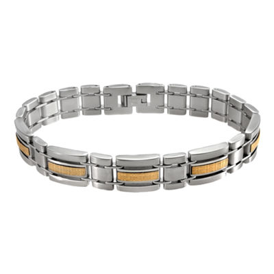 Men's 18K Yellow Gold & Stainless Steel Link Bracelet