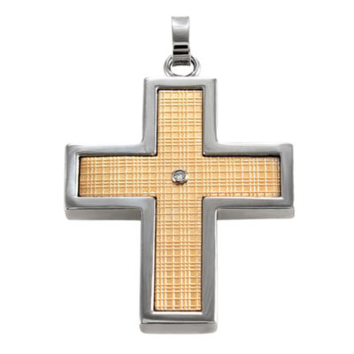 Mens Two-Tone Diamond-Accent Cross Pendant Necklace