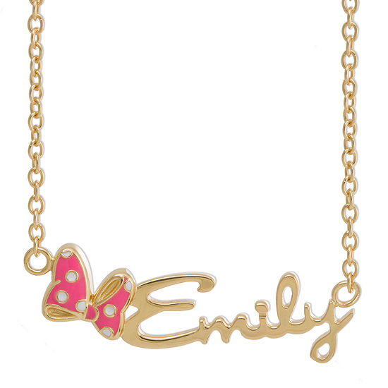 Disney Personalized Minnie Mouse 14K Yellow Gold over Sterling Silver & Enamel Name Necklace