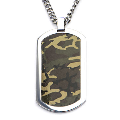 Inox® Jewelry Mens Stainless Steel Camo Dog Tag Pendant Necklace