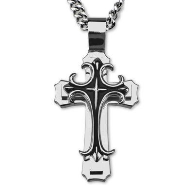 Inox® Jewelry Mens Stainless Steel Fleur-De-Lis Cross Pendant Necklace