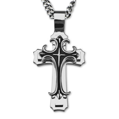 Fine Jewelry Mens Stainless Steel Fleur-de-Lis Cross Pendant Necklace 0OqBEBGKx2
