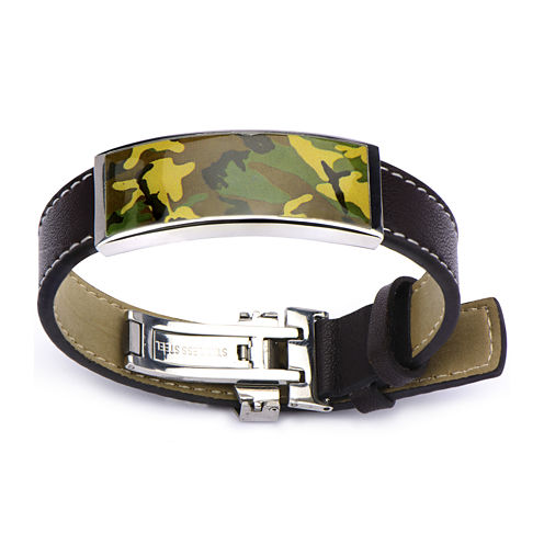 Inox® Jewelry Mens Brown Leather & Camouflage Bracelet
