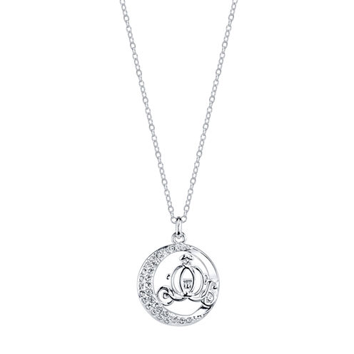 Disney Womens Silver Over Brass Pendant Necklace