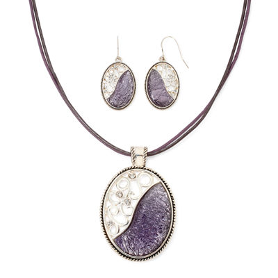 Mixit™ Silver-Tone and Purple Enamel Earring and Pendant Necklace Set