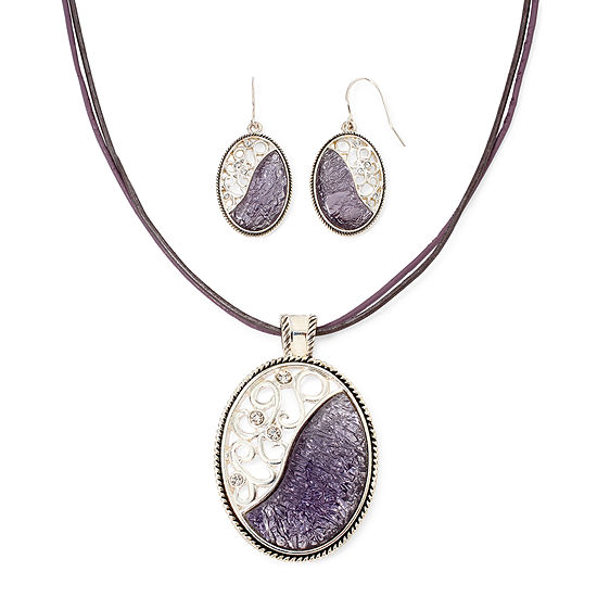 Mixit Silver Tone And Purple Enamel Earring And Pendant Necklace Set