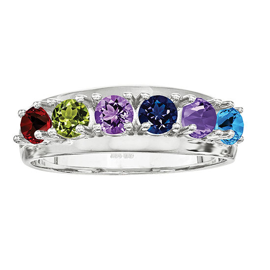 Personalized 14K Gold Cubic Zirconia Birthstone Family Ring