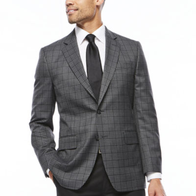 Stafford® Travel Year-Round Charcoal Check Sport Coat