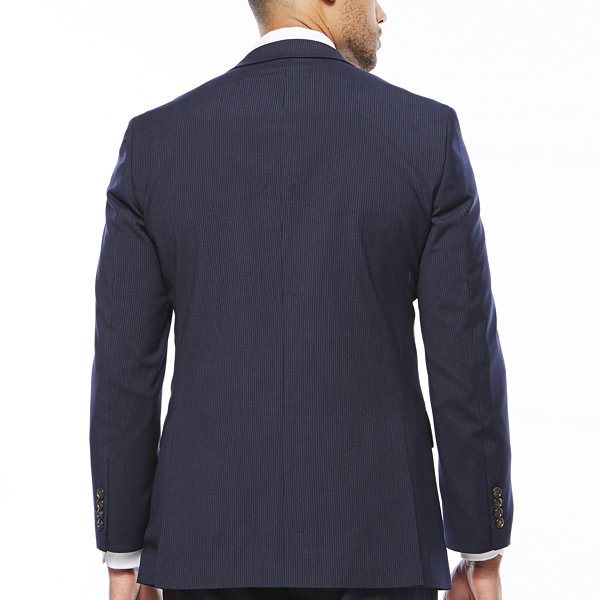 Stafford® Travel Wool Blend Stretch Navy Pinstripe Jacket - Classic Fit